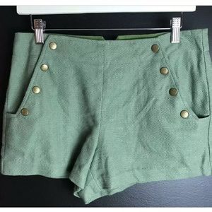 TIBI Olive Green Snap Front Shorts Dressy Casual